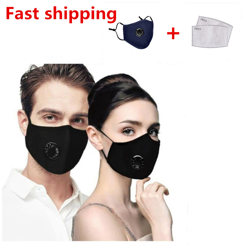 PM2.5 Black Mouth Mask Anti Dust Activated Carbon Filter Mask Windproof Mouth-muffle Face Masks +2 Filter Papers For Outdoor
