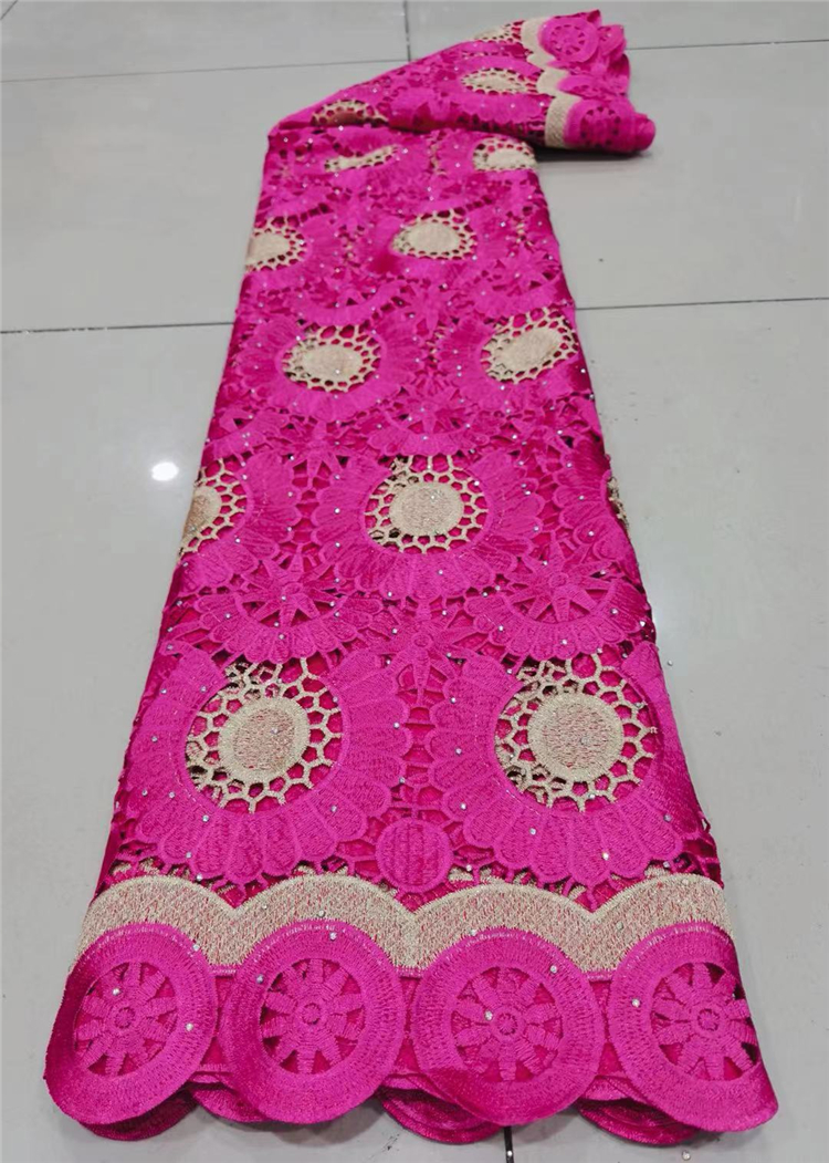 2021Skin Friendly Classic Grade Guipure Lace with Stones Embroidery African Cord Fabric For Wedding Dress NN935-V