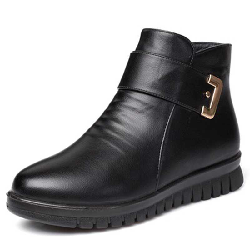 ZZPOHE 2020 moda kış ayakkabı kadın hakiki deri ayak bileği düz çizmeler rahat rahat sıcak kadın kar botları ücretsiz kargo
