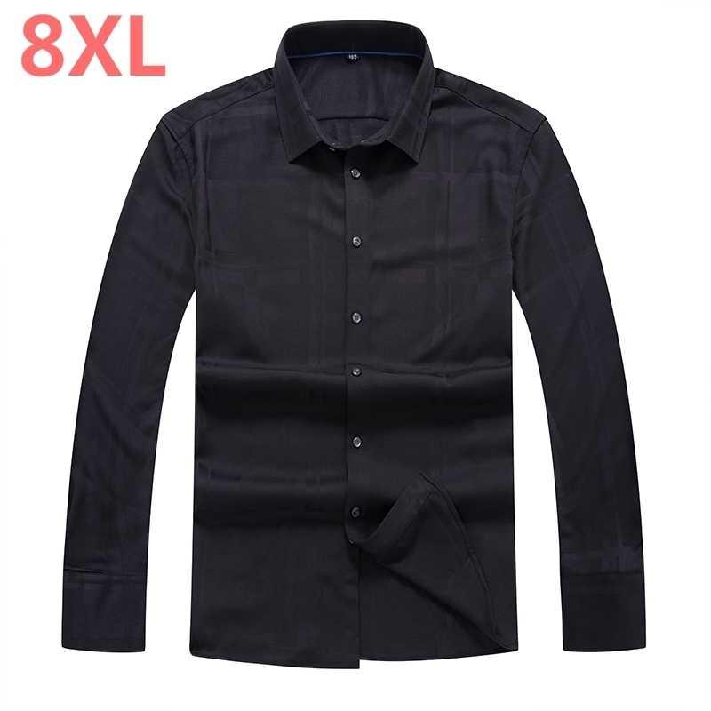 Herfst Winter 8XL Plus Size Mannen Dress Shirts Merk Kleding Mode Camisa Sociale Casual Mannen Shirt Slanke Lange Mouwen masculina