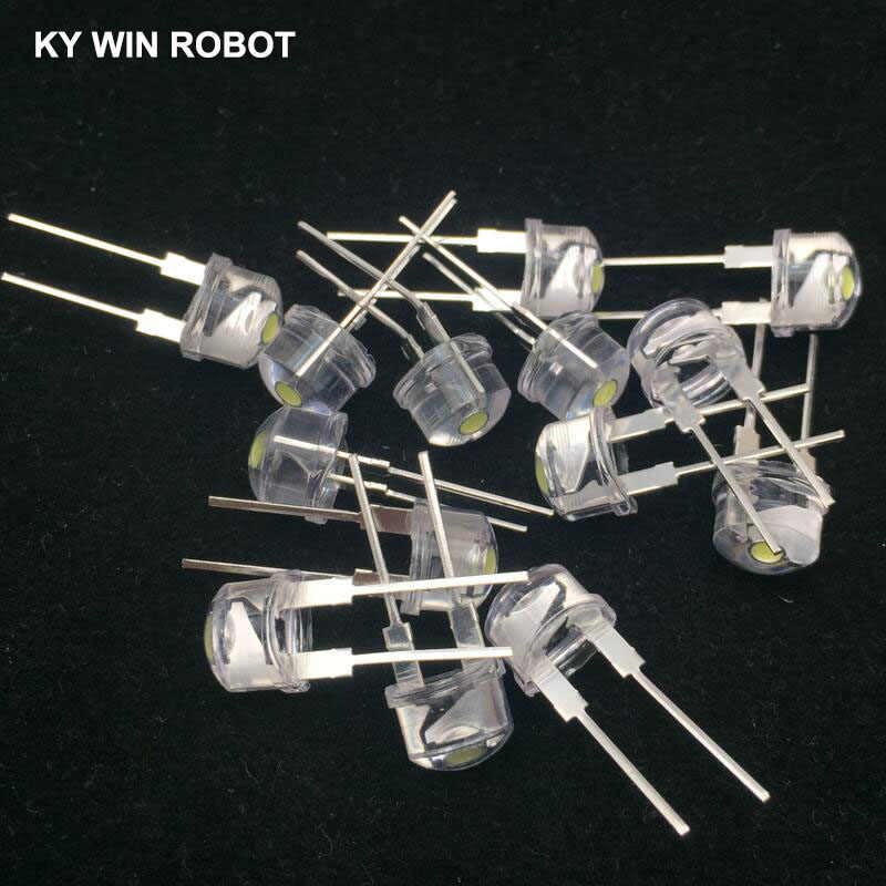 50pcs 8mm Straw Hat LED Diode Ultra Bright White 0.25W 0.5W 0.75W F8 Power 0.5W Light Emitting Diode Red Yellow Green Blue Pink