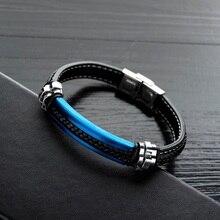 Fashion Luxury Leather Men Bracelet Fashion Stainless Steel Male Bracelets Bangles Jewelry Bangles For Man