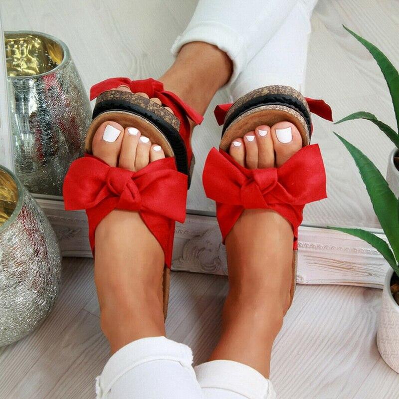 Hot Womans Slip On Sliders Bow Flatform Mule Summer Sandals Comfy Shoes Sizes UK