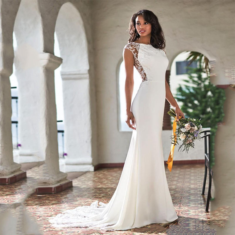 Smileven Mermaid Wedding Dress 2020 Lace Boho Bride Dresses Illusion Vestido De Casamento Elegant Wedding Gowns