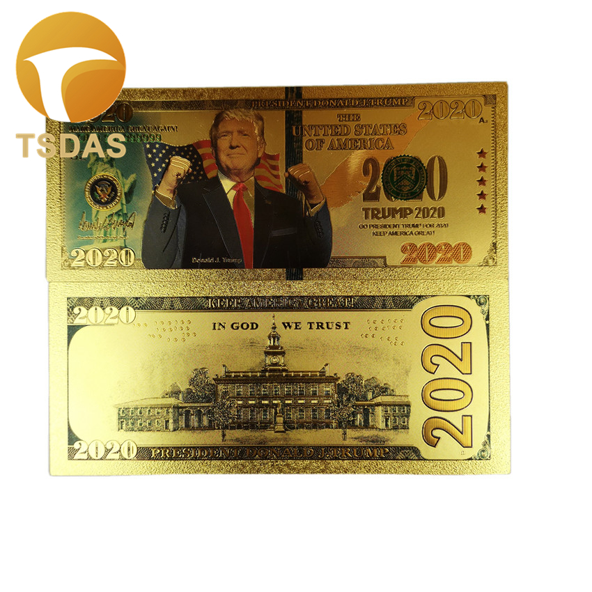 New Banknotes 10pcs/lot America Banknotes Gold Plated Trump Gold Banknote As Bill Currency Gifts
