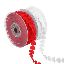 1.5cm 5M/Roll Embossed Love Ribbon for Wedding Valentine's Day Decorations Gifts Bouquet Packing Heart Red Lace Ribbons DIY