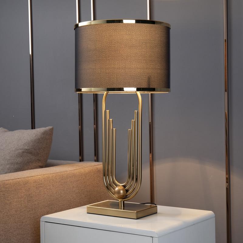 ouro moderno curva forma da tubulacao lampada de mesa abajurs metal sala estar decoracao casa lampadas