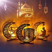Moslim Ledeid Mubarak Houten Ornament Met Licht Cadeaus Home Party Diy Hout Decoratie Voor Eid Al Fitr Desktop Nachtverlichting