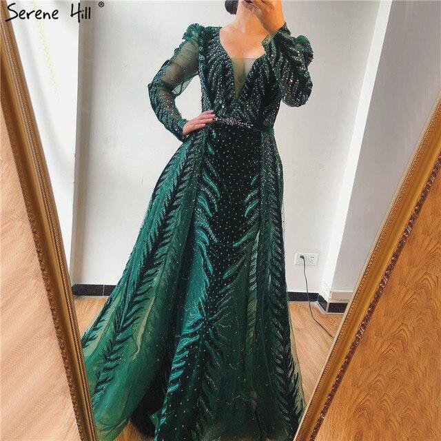 דובאי יין אדום קטיפה צווארון V ערב שמלות עיצוב יוקרה ואגלי לבוש הרשמי 2020 Serene היל בתוספת גודל LA60903