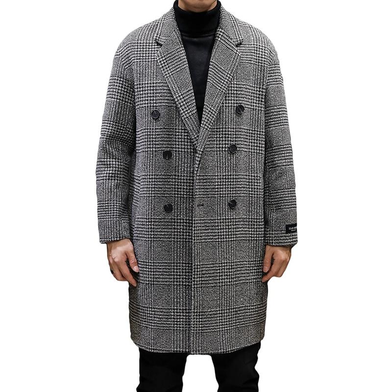 YASUGUOJI Casual Double Breasted Mens Wool Overcoat Winter 2019 Houndstooth Jacket Men Turn-down Collar Long Woollen Wind Coat 4