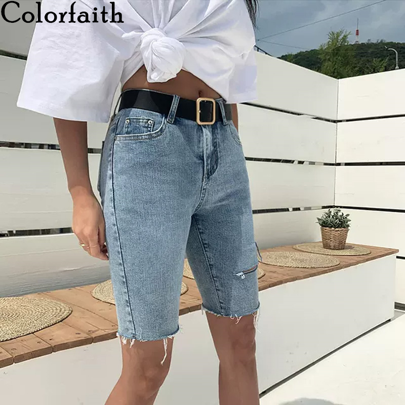 Colorfaith New 2020 Women Summer Jeans High Waist Casual Trousers Ripped Denim Streetwear Skinny Lady Knee Length Pants J3448-8
