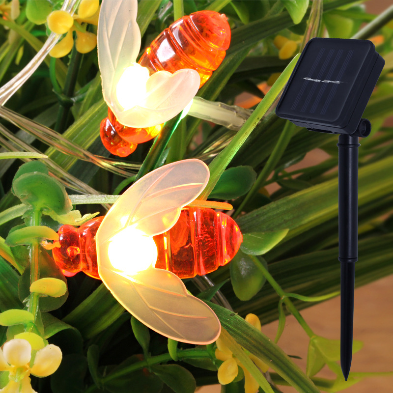 New Solar Powered Cute Honey Bee Led String Fairy Light 20leds 50leds Bee Outdoor Garden Fence Patio Christmas Lights decoration