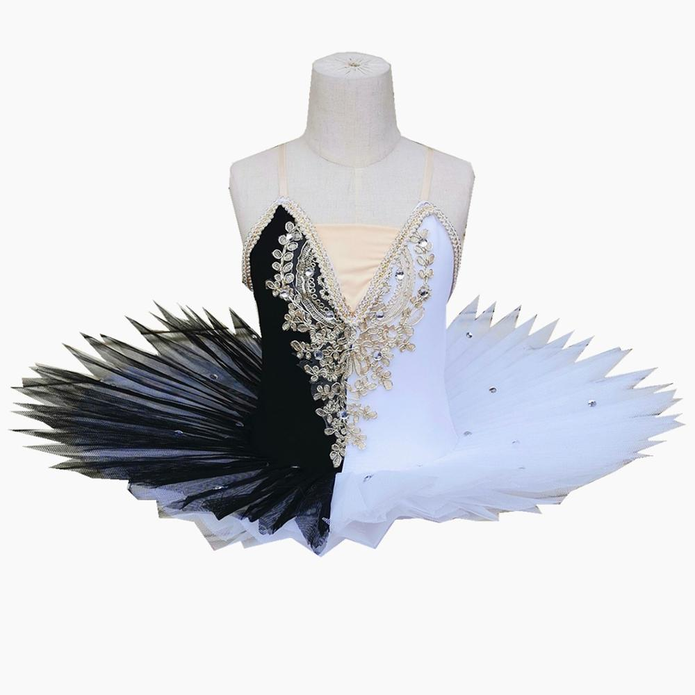 2019 New Children's Ballet Skirt Swan Costumes Black and White Sling <font><b>Dance</b></font> Tutu Skirt Stage Clothes For Girls image