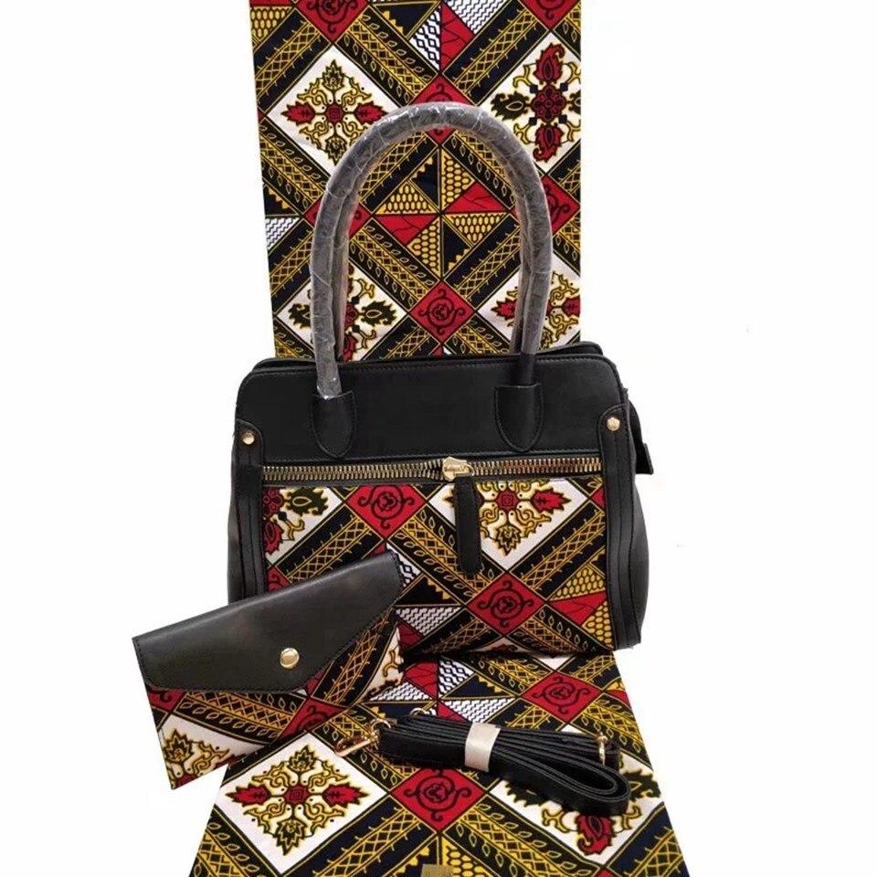 3pc ensemble blanc Ankara sac à main imprimé africain ensemble, sac fourre-tout africain ensemble et regarder 6 mètres tissu de cire africaine pour YBGB-24 de mariage