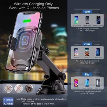 Baseus Qi Carregador de carro sem fio para iPhone Rápido Carregador de carregamento sem fio Suporte de carregador de telefone de carro de indução infravermelha Suporte 1