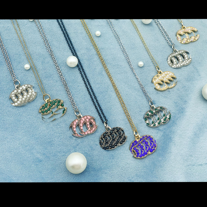 Ожерелье с бриллиантами модное Золотое и серебряное ожерелье с двойной цепочкой с женское роскошное высококачественное креативное дизайн...