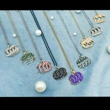 Colar de diamante ouro prata moda duplo c corrente feminina luxo alta qualidade design criativo boutique jóias
