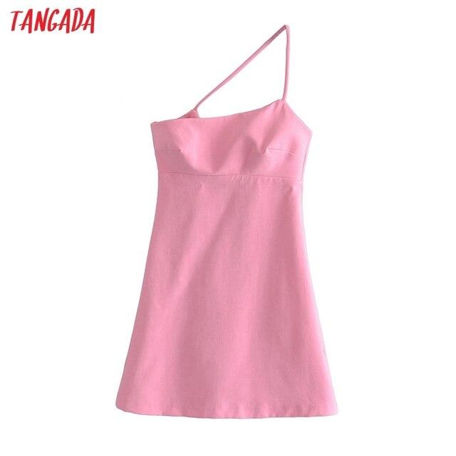 Tangada Women Solid Pink Mini Dress Strap Sleeveless 2021 Korean Fashion Lady Short Dresses Vestido 3H446 1