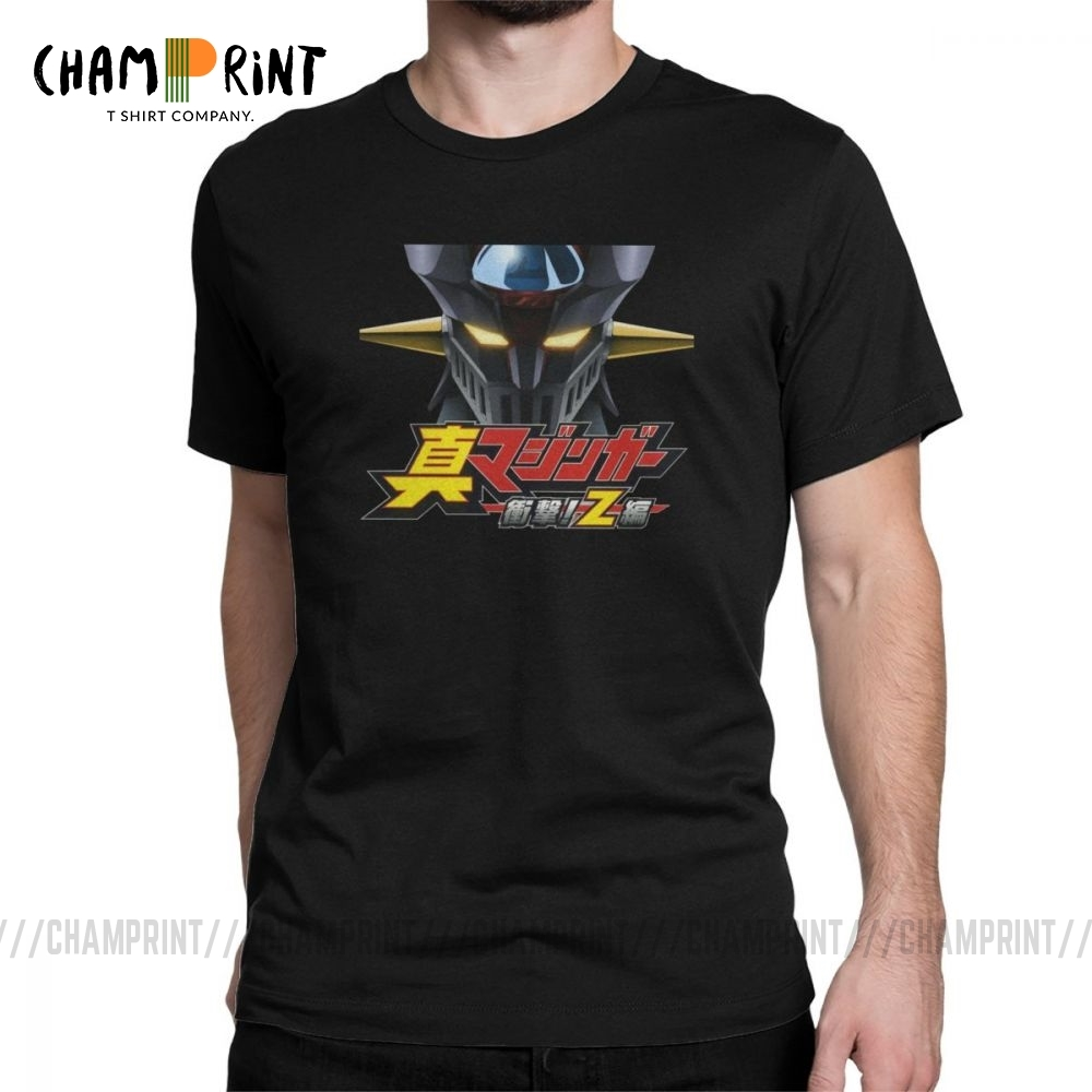 Men <font><b>T</b></font>-<font><b>Shirt</b></font> <font><b>Mazinger</b></font> <font><b>Z</b></font> <font><b>T</b></font> <font><b>Shirt</b></font> Warrior Robot Japan Anime Fashion 100% Cotton Tee <font><b>Shirt</b></font> Short Sleeve Clothes Birthday Present image