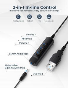 Image 3 - Mpow BH323有線ステレオコンピュータヘッドセットをキャンセルするノイズとマイク3.5ミリメートル/usbプラグ柔軟な回転コールセンターpcのラップトップ