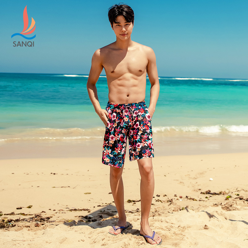 Sanqi Beach Shorts Men Boxer Fashion Loose Seaside Holiday Short Bubble Hot Spring Swimming Suit