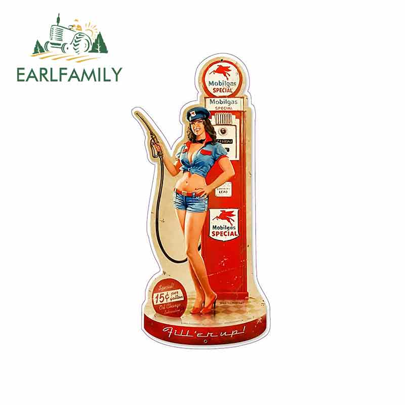 EARLFAMILY 13cm X 6.3cm Car Sticker FOR Old Mobil Oil Pin Up Girl Decal Car Styling Accessories