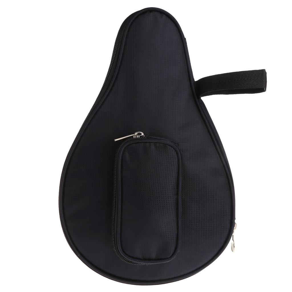 Waterproof Black Table Tennis Racket Bag PingPong Paddle Bat Case W/ Ball Pouch