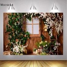 ดอกไม้ฤดูใบไม้ผลิเด็กวันเกิดPhotocallไม้สีเขียวใบหน้าต่างภาพพื้นหลังสำหรับPhoto Studio Props