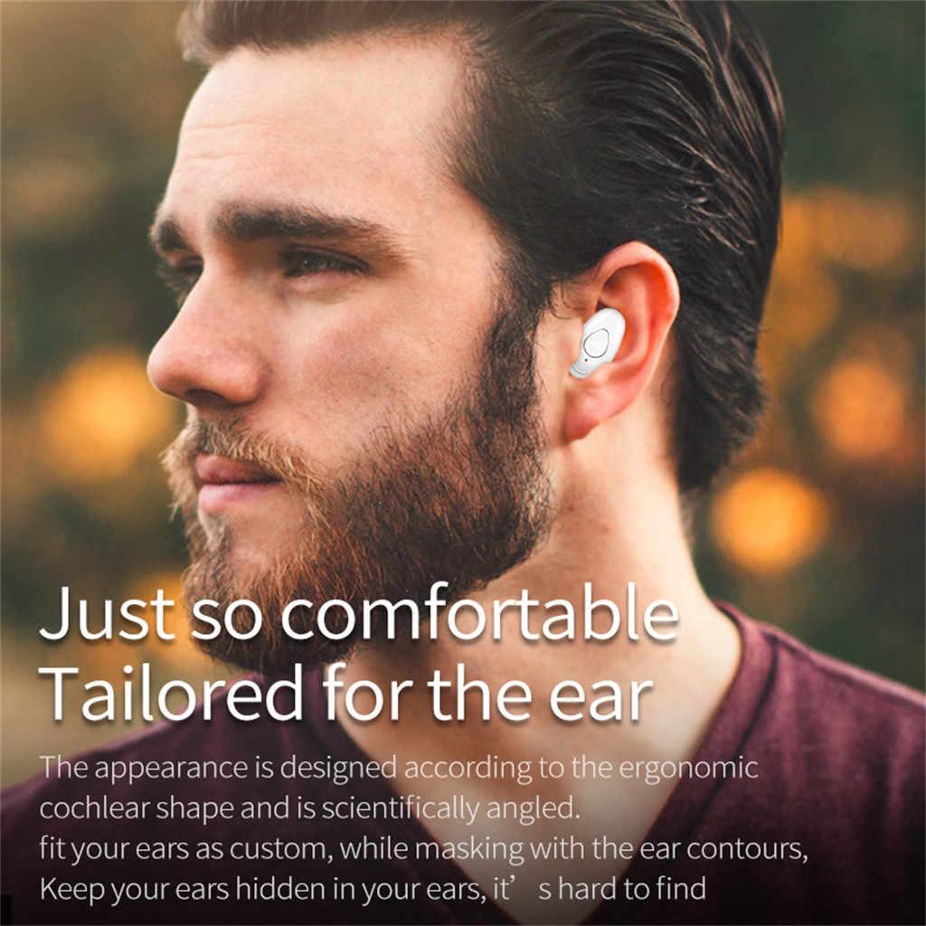 Bezprzewodowy zestaw słuchawkowy BT słuchawki Stereo douszne Mini trening sportowy słuchawki douszne z mikrofonem niebieski ząb słuchawki