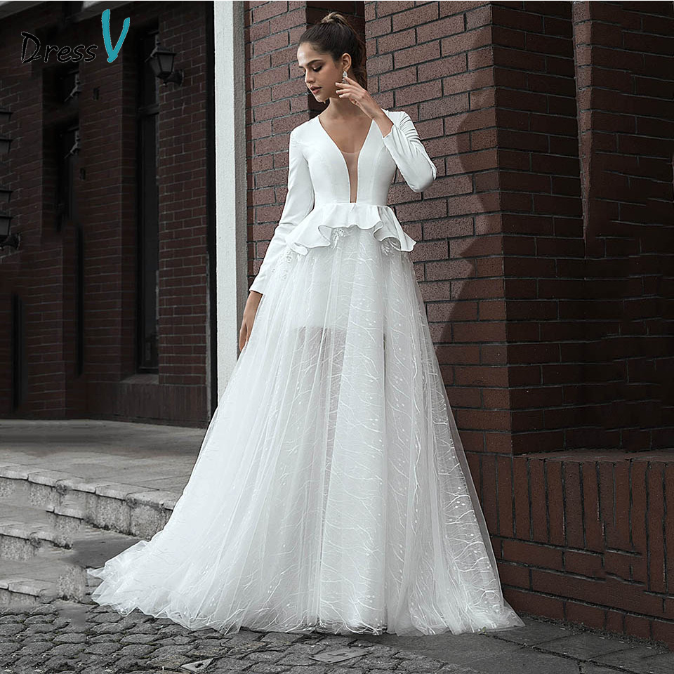 Dressv V Neck Wedding Dress Elegant Long Sleeves Ruffles With Sweep Train A Line Lace Outdoor&church Wedding Dresses Custom