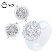 New Bling Iced Out Big Crystal Ceramic Jewelry Set For Women Never Fade Healthy Fashion Rings Earrings Plus Size 6-12