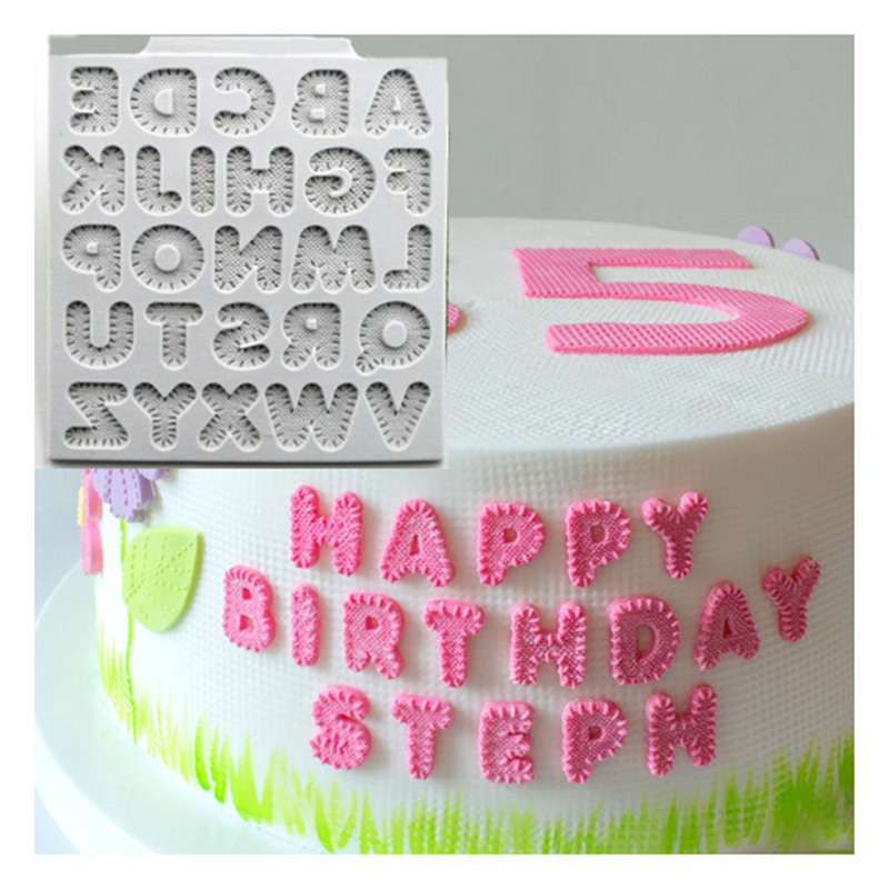 New Linen 26 English <font><b>Letters</b></font> Fondant <font><b>Cake</b></font> Silicone Mold <font><b>Cake</b></font> <font><b>Decorating</b></font> <font><b>Tools</b></font> Birthday Wedding Decoration DIY <font><b>Cake</b></font> Mold K768 image