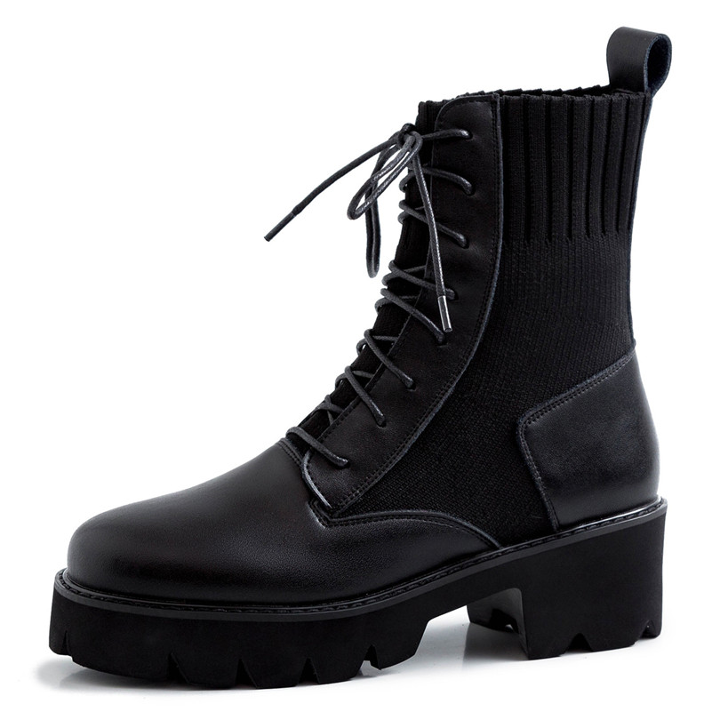 Dilalula New Winter Warm Women Mid Calf Boots Ladies Martins Shoes Woman Real Leather Casual Dating Knitting Short Ladies Boots - 5