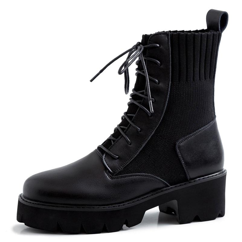 Lenksien beknopte stijl wiggen platform patchwork puntschoen lace up vrouwen pompen natuurlijke lederen punk dating casual schoenen L18 - 5