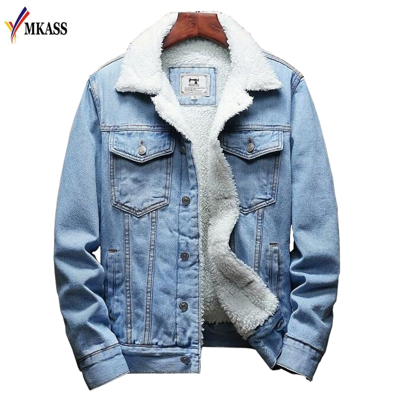 MKASS Men Jacket And Coat Trendy Warm Fleece Denim Jacket 2020 Winter Fashion Mens Jean Jacket Outwear Male Cowboy Plus Size 6XL