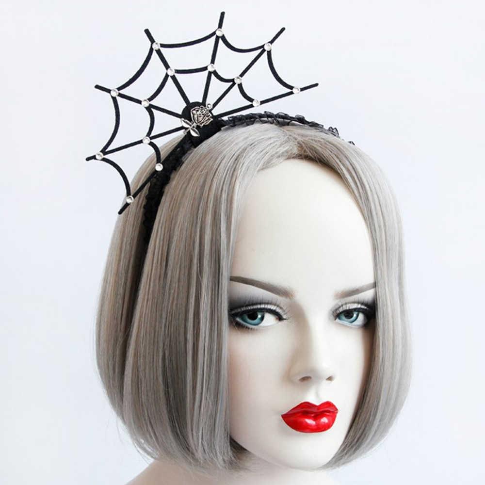 1PC niñas Halloween diadema araña Web flor sombrero pelo aro fiesta adornos Cosplay encaje velo Topper nuevos accesorios para el cabello