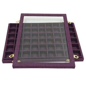 Image 5 - สายกล่อง 54 กริดแก้วใสฝาปิดต่างหูแหวนเครื่องประดับถาดตู้โชว์จัดเก็บ 31x22x2.8cm