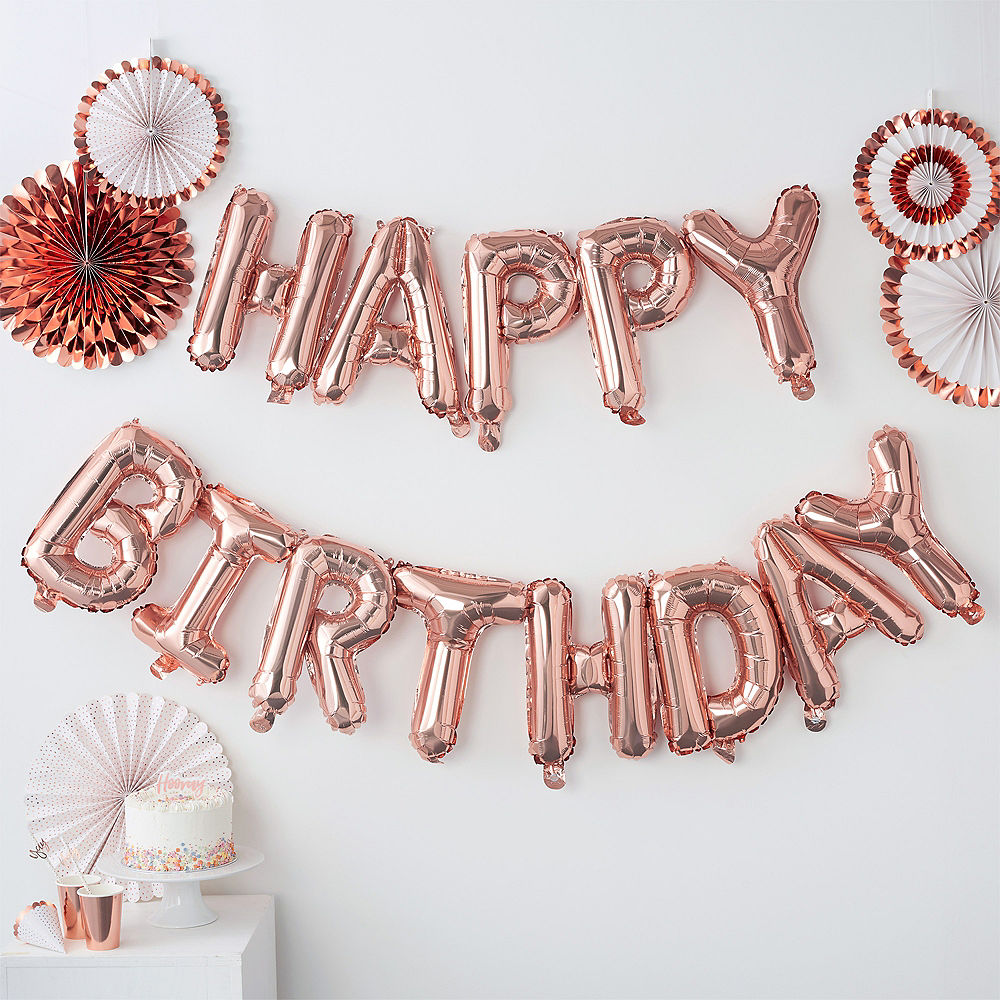 Foil Ballons Letter Globos Birthday-Party-Decorations Rose-Gold Anniversaire Balony 13pcs