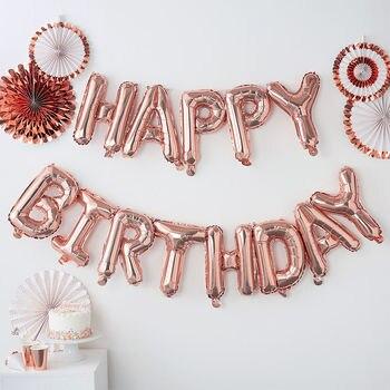 13pcs Happy Birthday Decoration Balloons Rose Gold Letter Foil Ballons Birthday Party Decorations Globos Balony Anniversaire 1