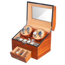 Display-Box Watch Winder Storages Automatic Wood 4 JQUEEN Motor 9 5-Modes Velvet Fraxinus