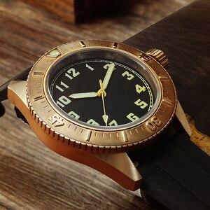 Image 3 - San Martin Diver brązowy automatyczny obrotowy Bezel męski mechaniczny zegarek 200m wodoodporny zespół świecąca tarcza