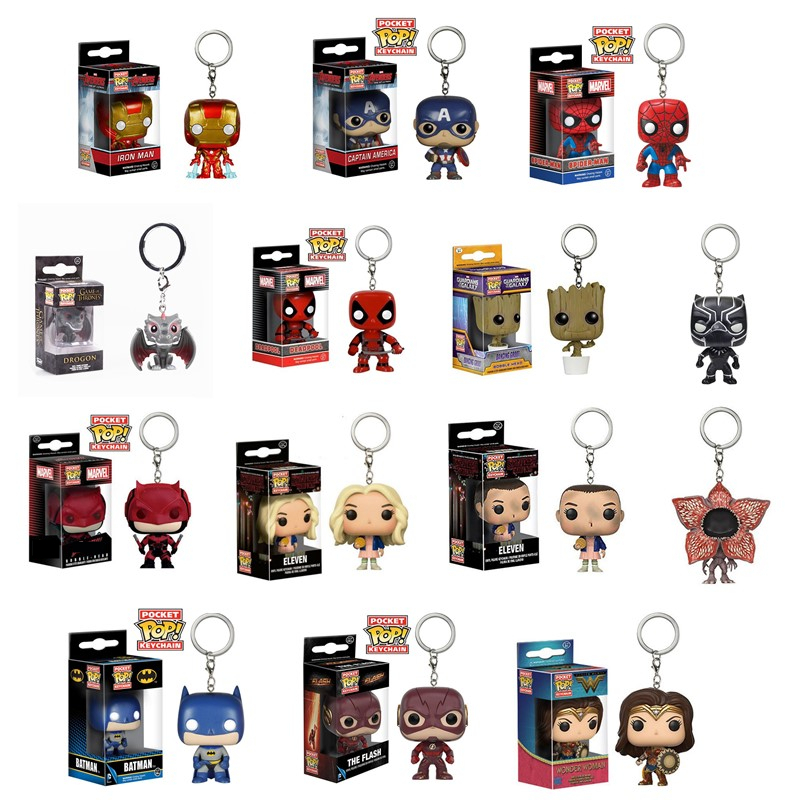FUNKO POP Official Pocket Pop Keychain Marvel Avengers Wonder Woman  Iron Man Action Figure Collectible Model Christmas Toy