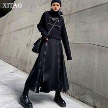 Solid-Skirt Patchwork Women High-Waist Fashion All-Match Temperament XITAO Casual ZY2659