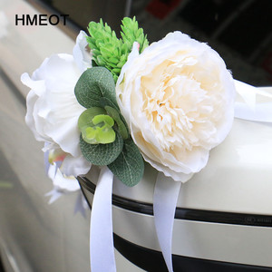 custom made New Creative Wedding Car Decoration Flower Door Handles Rearview Mirror Decorate Artificial Flower Accessories(China)