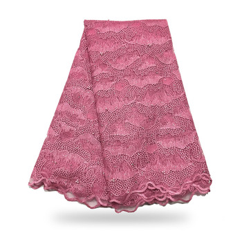 2020 Latest Pink African french lace with beads embroidered Swiss guipure tulle mesh lace for Nigerian dresses f200311