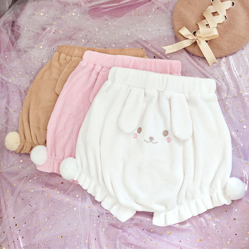 3 Colors Anime Cute Lolita Girls Plush Shorts Kawaii Rabbit Pattern Elastic Waist Bloomers Shorts Autumn Winter Pink Shorts 1