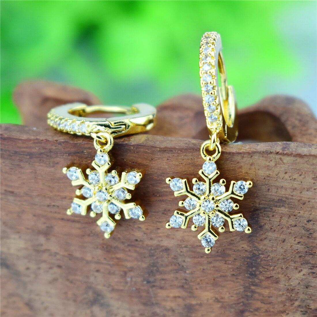 New AAA Zircon Golden Pendiente Flower Drop Earring Snow Flower Dangle Charms Women Luxury CZ Zircon Jewelry Gift