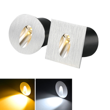Recessed Led Stair Light 1w 3w Aluminum Square round wall corner lamp In Step Lamp for