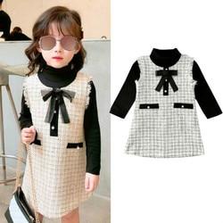 1-7y outono inverno da criança da menina do bebê conjuntos de roupas de algodão gola alta camiseta + vestido xadrez roupa formal