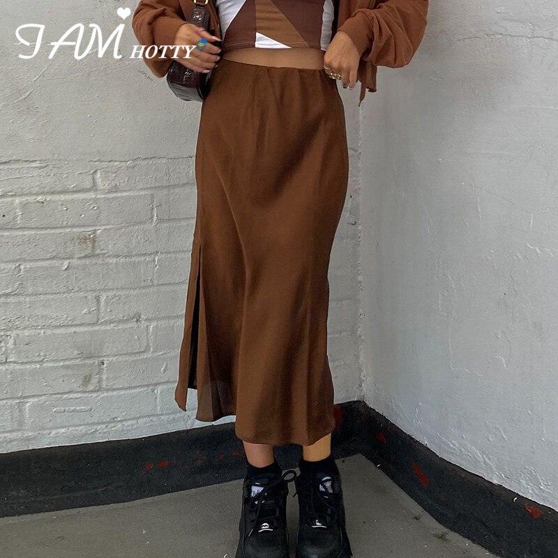 Винтажные Разделение длинная юбка для женщин детали Sony Cyber y2k модный прямой атлас с высокой талией юбки Летняя одежда 2021 повседневного образ...